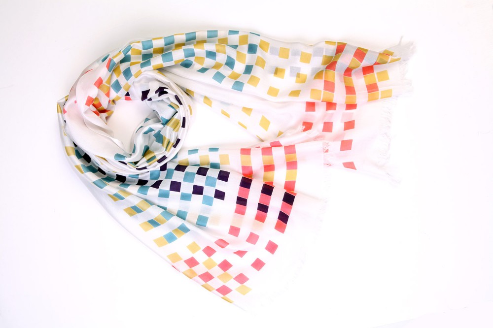 Multi-Coloured Checkerboard<br/>100% Silk