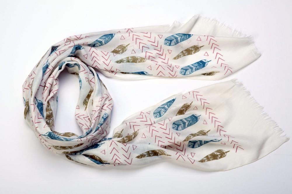 Hand-Drawn Feather Print<br/>Cotton / Silk