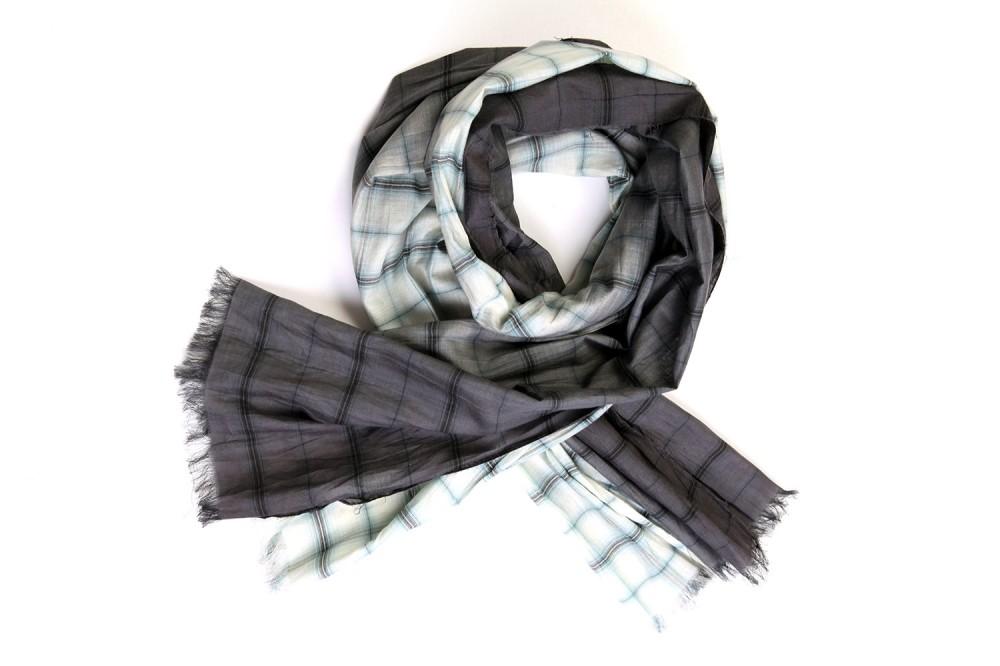 Dip-Dye Check<br/>Cotton / Silk